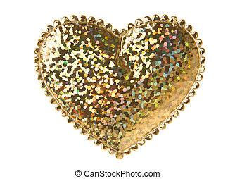 dourado, forma coração