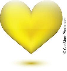 dourado, forma, coração