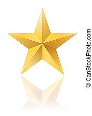 dourado, forma estrela, isolado, branco, com, reflexão., vetorial, ilustração