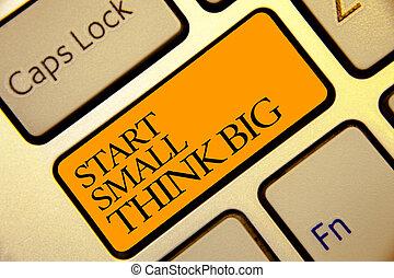 dourado, foto, mente, amarela, computador, algo, ter, teclado, início, coisas, escrita, poucos, pretas, texto, conceitual, negócio, mostrando, color., mão, grande, botão, cinzento, inicie, big., pequeno, pensar