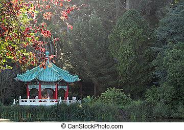 dourado, francisco, pavilhão, san, chinês, parque, portão