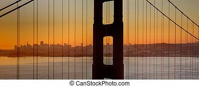 dourado, francisco, san, ponte, sobre, baía, através, portão, amanhecer
