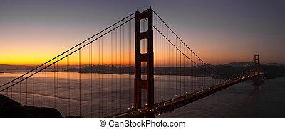 dourado, francisco, san, ponte, sobre, portão, amanhecer