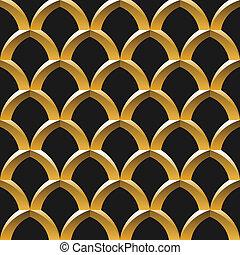 dourado, gaiola, seamless, padrão
