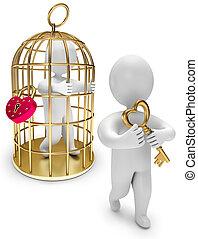 dourado, gaiola, segura, pessoa, tecla, homem