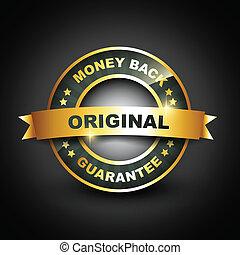 dourado, garantia, costas, mney, etiqueta