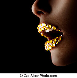 dourado, gems., maquilagem, lábios, profissional, excitado