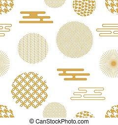 dourado, geomã©´ricas, oriental, branca, print.