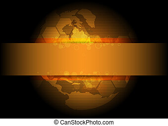 dourado, global, desenho, fundo