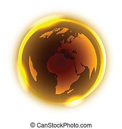 dourado, globo, com, amarela, luz néon, ao redor