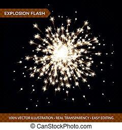 dourado, glowing, luzes, efeitos, isolado, ligado, transparente, experiência., explosão, flash, com, raios, e, spotlight., estouro estrela, com, sparkles., vetorial, ilustração
