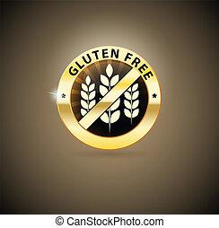 dourado, gluten, livre, ícone