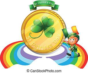 dourado, grande, st., patrick's, moeda, dia