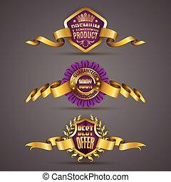 dourado, grinalda, emblemas, laurel