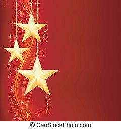 dourado, grunge, elements., festivo, neve, estrelas, flocos, fundo, natal, vermelho