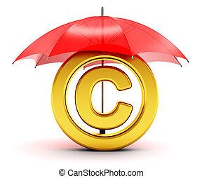 dourado, guarda-chuva, símbolo copyright, coberto, vermelho
