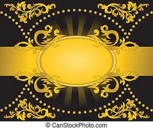 dourado, horizontais, pretas, listra, fundo