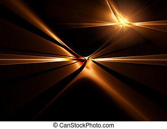 dourado, horizonte, esticar, desligado, para, infinidade
