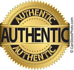 dourado, illu, vetorial, etiqueta, autêntico