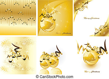 dourado, illustration., set., vetorial, desenho, natal