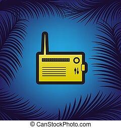 dourado, illustration., sinal, pretas, vector., rádio, contorno, ícone