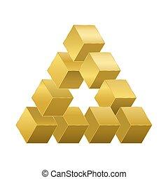 dourado, ilusão, reutersvaerd, cubos, óptico