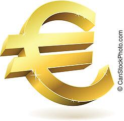 dourado, Ilustração, isolado, sinal, vetorial, branca,  Euro,  3D