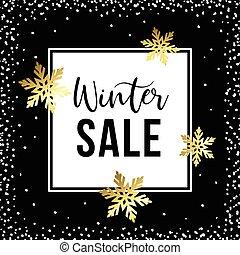 dourado, inverno, cartaz, snowflakes, venda, ilustração, experiência., vetorial, modelo, branca