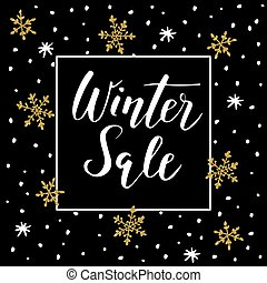 dourado, inverno, ilustração negócio, conceito, doodle, venda, texto, stars., vetorial, fundo, promoção, manuscrito, lettering., snowflakes