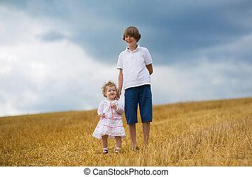 dourado, irmã, trigo, sunse, irmão, andar, campo, bebê