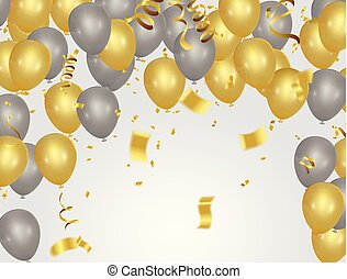 dourado, isolado, fundo, partido, branca, balões