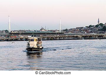 dourado, istambul, metro, ponte, chifre, bote