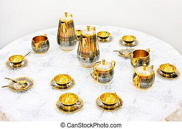 dourado, jogo, chá