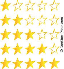 dourado, jogo, cinco, estrelas