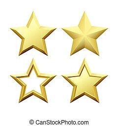 dourado, jogo, estrela, fundo, isolado, Ilustração, metálico, realístico, vetorial, branca