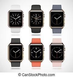dourado, jogo, modernos, relógios, edição, 6, brilhante, esperto