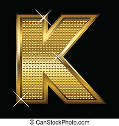 dourado, k, fonte, tipo, letra
