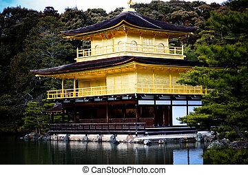 dourado, kyoto, templo, mundo, herança