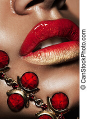 dourado, lábios, jóia, femininas