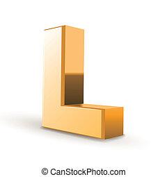 dourado, l, letra, 3d