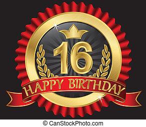 dourado, labe, 16, anos, aniversário, feliz