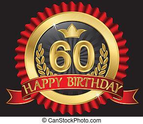 dourado, labe, anos, 60, aniversário, feliz