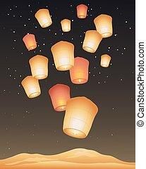 dourado, lanternas