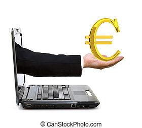 dourado, laptop, símbolo euro, mão
