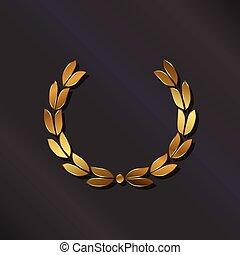 dourado, laurel., vetorial, logotipo
