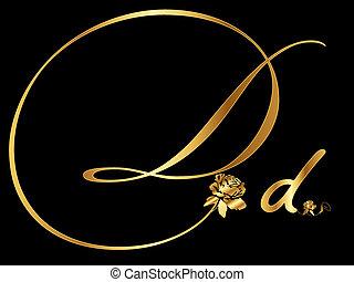 dourado, letra, d