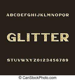 dourado, letras, alfabeto, numbers., font., tipo, brilhar