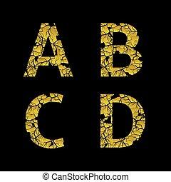dourado, letras, quebrada