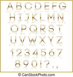 dourado, letras, reflexão, alfabeto, vetorial, fundo, branca