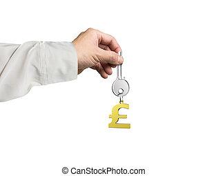 dourado, libra, tecla, símbolo, keyring, mão, forma, segurando, prata